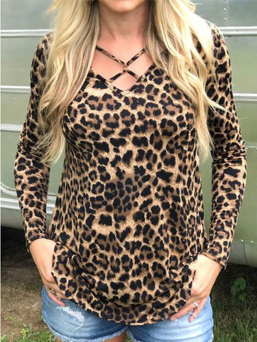 Fashion Leopard Printed V-Neck Long Sleeve T-Shirt
