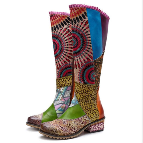 Vintage Ethnic Style Leather Knee-High Boots Women