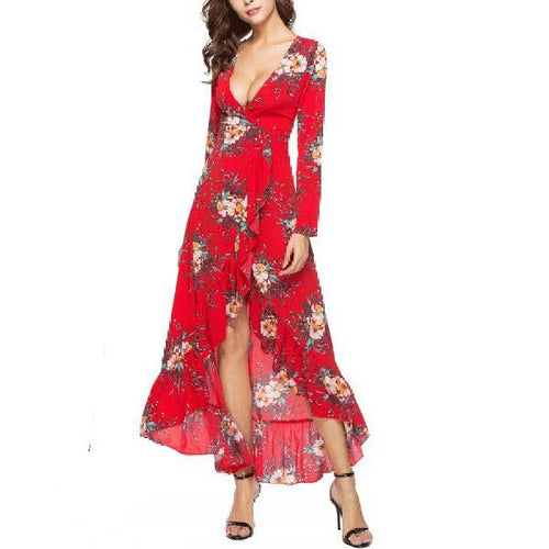 Sexy Deep V Collar Printed Slit Flouncing Maxi Dress