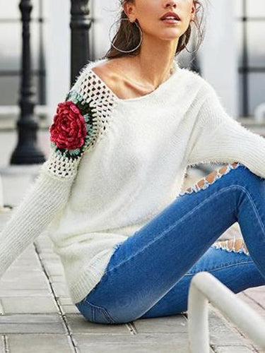 Long Sleeves Hollowed-Out Rose Embroidered Sweater