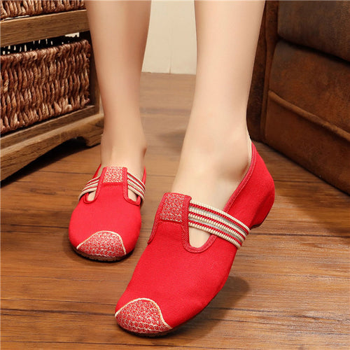 Elasticated Canvas Embroidered Shoes