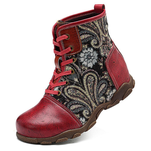 Casual Vintage Ethnic Style Leather Women's Boots