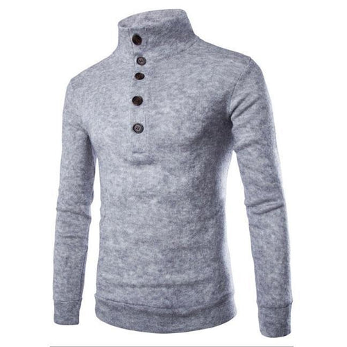 Fashion High Collar Plain Button Slim Knit Sweater