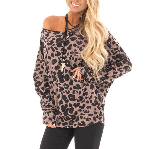Round Neck Long Batwing Sleeve Leopard Printed Fashion T-Shirts
