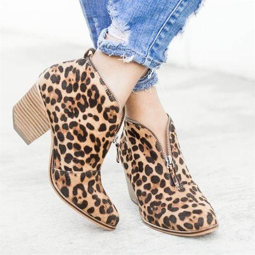 Large Size Women Leopard Chunky Heel Ankle Boots