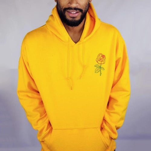 Plain Embroidery   Flower Hoodie