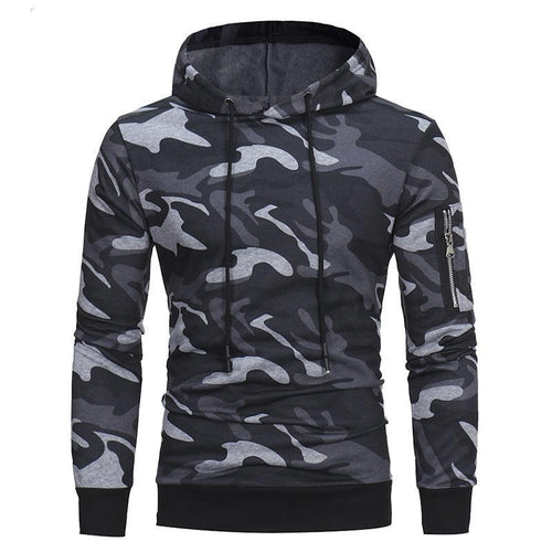Fashion Slim Camouflage Printed Hoodie With Hat