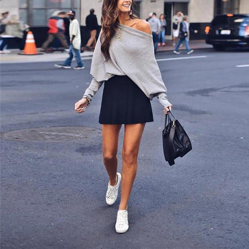 Fashion New Style Off Shoulder Long Sleeves Oversize Long T Shirt
