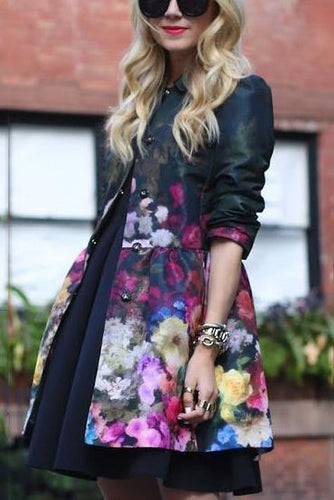 Fashion Floral Printed Slim Long Sleeves Waisted Suit