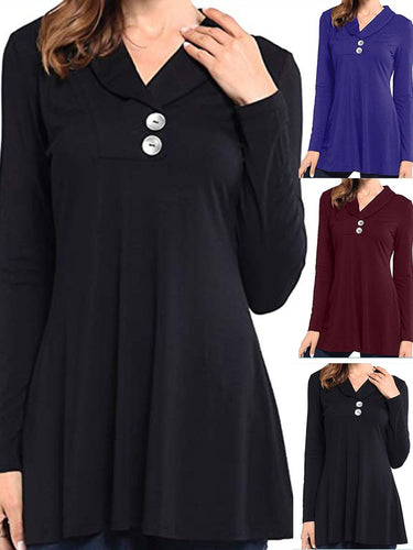 Polo Collar  Loose Fitting  Plain Long Sleeve T-Shirts