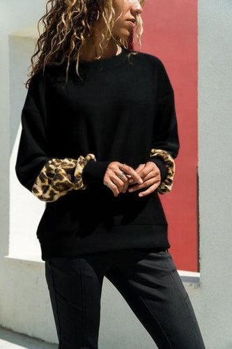 Chic Casual Round Collar Puff Sleeves Leopard Printed T Shirt