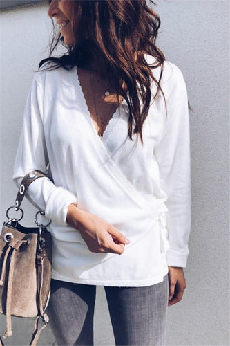 Fashion Casual Sexy V Neck Collect Waist Belt Casual Sweater T-Shirt
