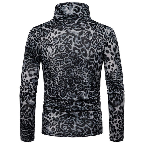 Sexy High Collar Laopard Printed Long Sleeve