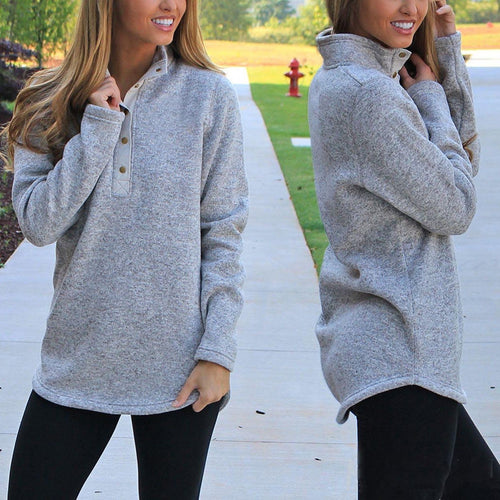 Casual Pure Colour Stand Collar Loose Sweater