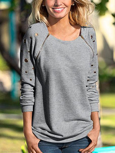 Solid Color Hole Raglan Sleeve Zipper T-Shirt