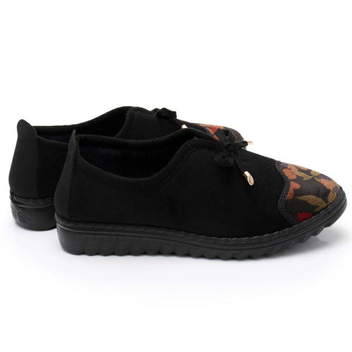 Plus Size Winter Warm Floral Print Design Casual Cotton Shoes For Mom