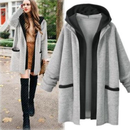 Hooded Fashion Patchwork Long Sleeve Pocket Cardigans