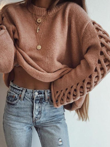 Round Neck  Hollow Out Plain Sweaters