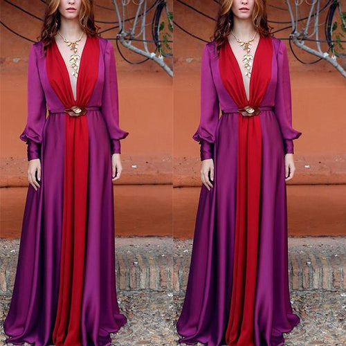 Long Sleeved Deep V Color Matching Dress