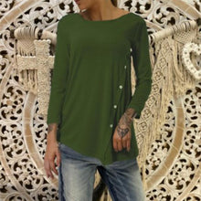 Load image into Gallery viewer, Round Neck Long Sleeve Plain Asymmetrical Hem Button T-Shirts