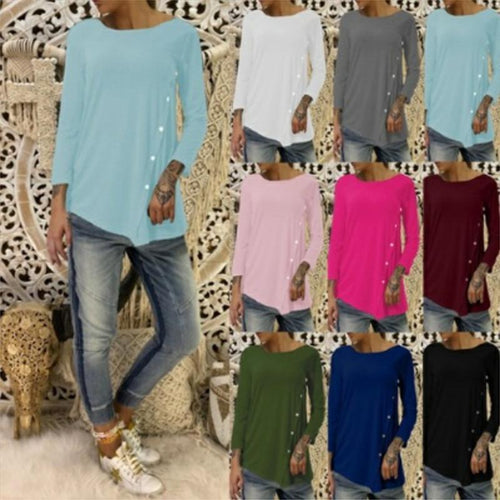 Round Neck Long Sleeve Plain Asymmetrical Hem Button T-Shirts