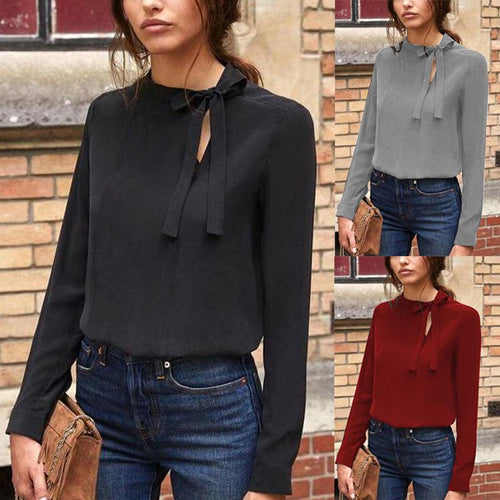 Collar Bow Long Sleeve T-Shirt