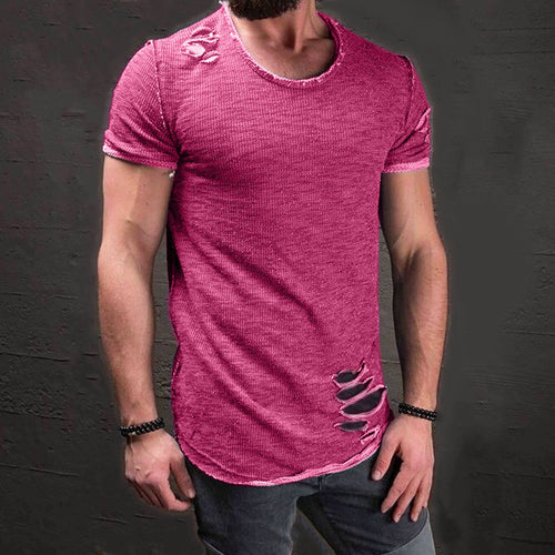 Ripped Mens Short Sleeve T-Shirts Clothes Plus Size