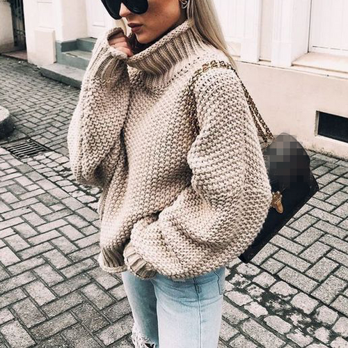 Chic Casual High Collar Long Sleeves Loosen Knitting Sweaters