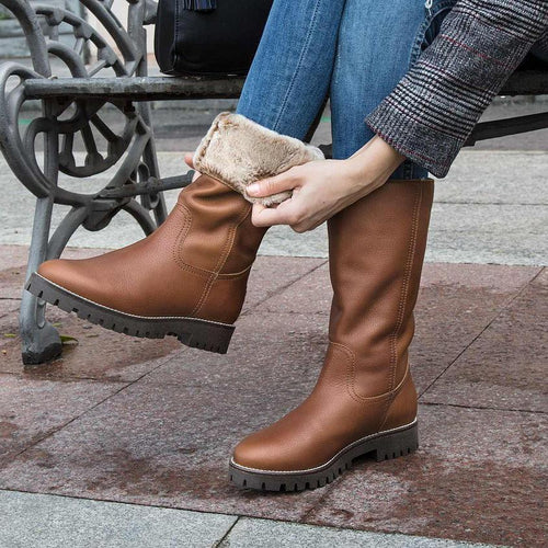 Fashion Winter Low Heel Leather Boots