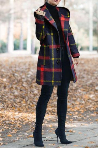 Chic Casual Color Block Plaid Hooded Slim Woolen Coat