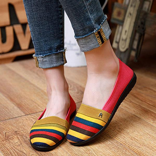 Flat Shoes Comfortable Colorful Rainbow Cloth Shoes