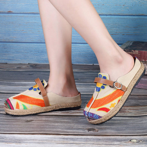 Colorful Embroidered Buckle Folkways Backless Loafers