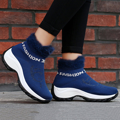 Women Comfortable Mesh Fur Lining Platform Shoes Casual Boots