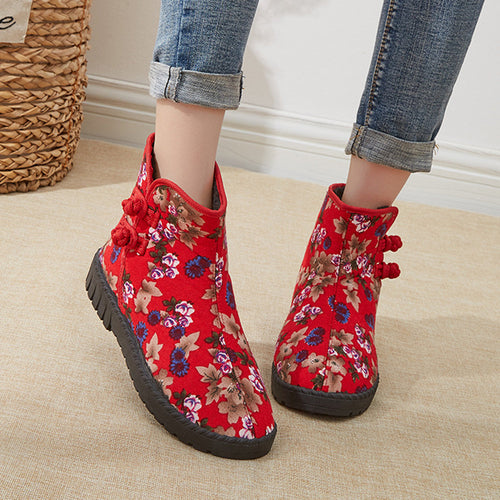 Flat Bottom Embroidered Buckle Plus Velvet Snow Boots