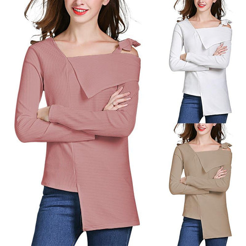 Bow Sling Solid Color Long Sleeve Sweaters
