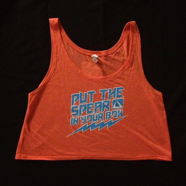 PUT THE SPEAR IN YOUR BOX - ORANGE CROP TOP TANK-  Women's