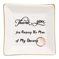HOME SMILE Ceramic Ring Dish Decorative Trinket Plate -Remember I Love You Mom