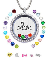 JOLIN Best Mom Gift, Women Floating Living Memory Locket Necklace Pendant with Charms & Birthstones for Mother