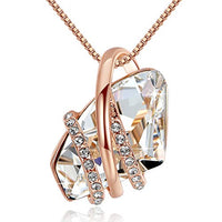 Leafael Wish Stone Pendant Necklace Made with Swarovski Crystals Birthstone Jewelry Gifts for Women, Rose Gold Plated, Silver Tone