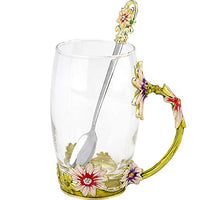 COAWG Glass Tea Cup, Lead Free Handmade Enamel Flower Clear Glass Coffee Mug with Handle, Unique Personalized Birthday Gift Ideas for Women Grandma Mom Female Friend Teachers-11/12oz (8oz-1pack, Gold)