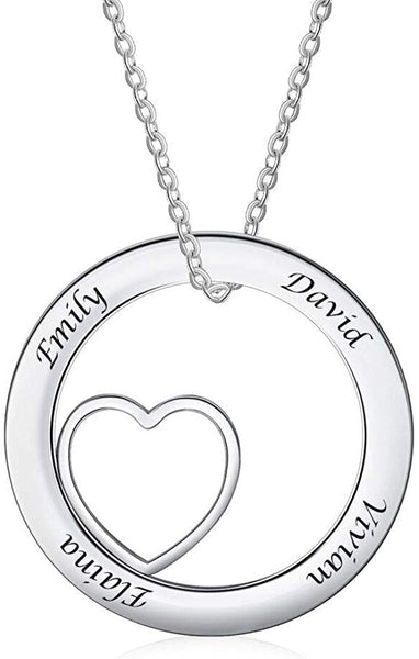Custom Name Necklace Personalized Couple Stainless Steel Love Heart Pendant Necklace with 4 Names Engraved Jewelry Gifts for Women