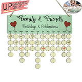 Family Birthday Tracker Calendar Board,DIY Wooden Birthday Anniversary Reminder Calendar Plaque Wall Hanging,Dad Mom Grandma in Law Birthday Gifts from Daughter- with Tags & Jigsaw Puzzle Sticker