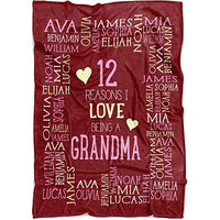 "Personalized Grandma Blanket Throw. Reasons I Love Being a Grandpa Grandma Papa Mommy Nana. Customized Blanket for Grandparent with All Names in for Birthday (Navy, Fleece 50"" x 60"")"