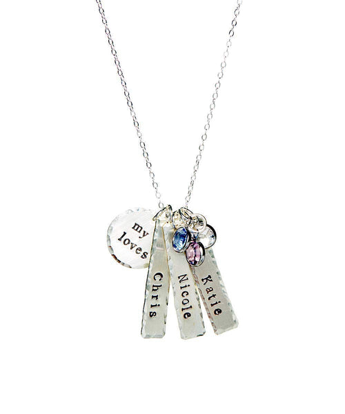 My Loves Personalized Name Necklace - Genuine Sterling Silver By Hannah Design Best Seller! Mother's Day Gift for Moms, Grandmother, Aunts, Friends