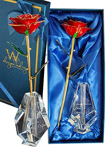 Whisper and Rose, Gold Dipped Rose with Engraved Glass Rose Vase - Beautiful for Her, 24k Gold Rose in Luxury Gift Box. Perfect Valentines Gift, Birthday Present Red Rose Wonderful
