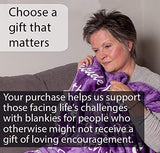 BlankieGram Faith Throw Blanket with Inspirational Thoughts and Prayers - The Perfect Caring Gift for Hope Health and Love (Purple)