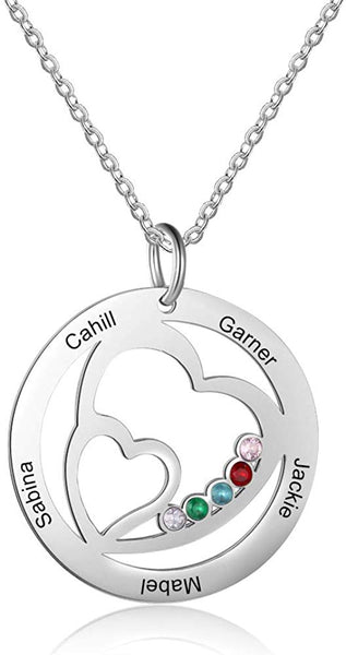 Personalized Family Tree of Life Mothers Pendant with 5 Simulated Birthstone 5 Names Engraved Grandma Jewelry Family Birthday Gifts for Women