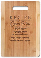 "Mothers Gift Recipe for a Special Mom (Small 11"" x 8.5"", Not Customized) Bamboo Serving Cutting Board for Mothers Day Birthday or Christmas"