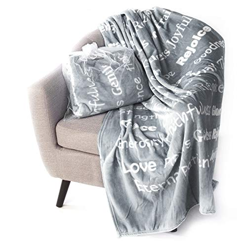 BlankieGram Faith Throw Blanket with Inspirational Thoughts and Prayers - The Perfect Caring Gift for Hope Health and Love (Blue)
