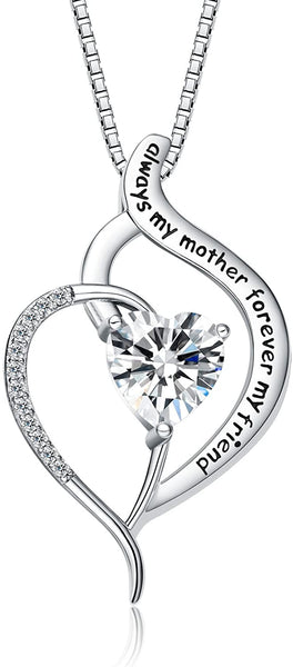 "FANCYCD""Always My Mother Forever My Friend"" Love Heart Necklace, 18"", Special Jewelry for Women, Mother's Day Gifts for Mom, Wife, Aunt, Grandma."